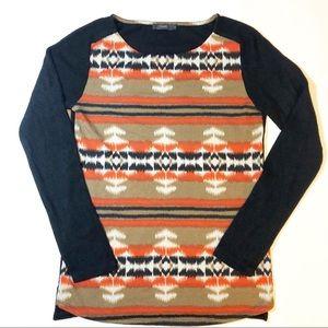 THML aztec black orange tan fall sweater small